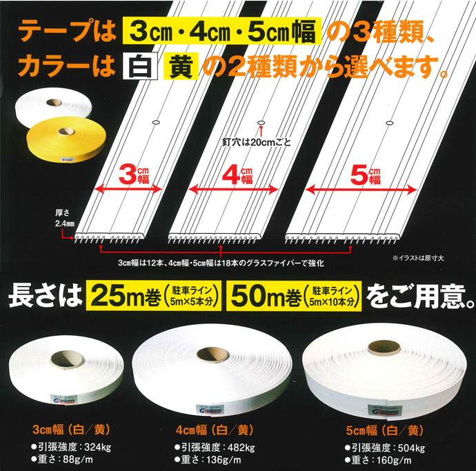 テープは3種類、カラーは2種類
