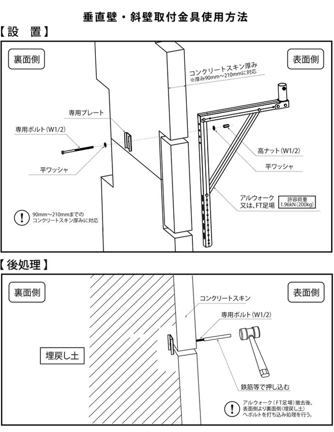 垂直壁・斜壁用取付金具使用方法